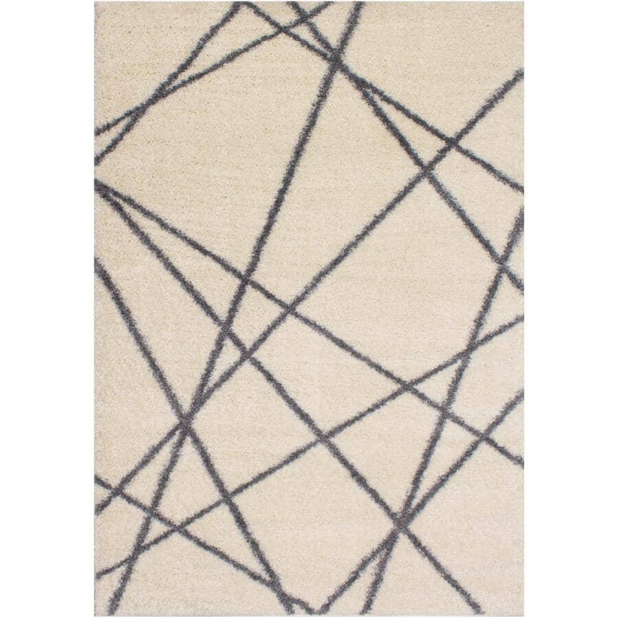 KALORA INTERIORS:8' x 11' Fergus Area Rug - White with Grey Lines