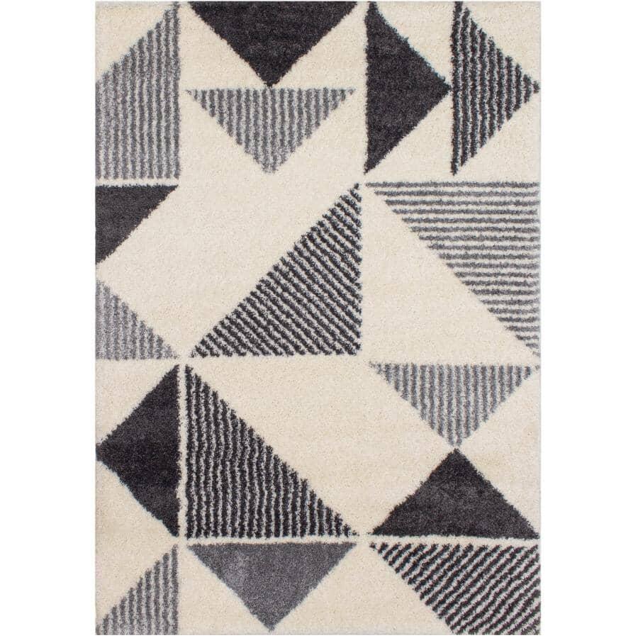 KALORA INTERIORS:6' x 8' Fergus Area Rug - White with Grey Triangles