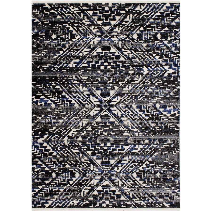 KALORA INTERIORS:8' x 10' Calabar Area Rug - Black, Grey & Blue Design