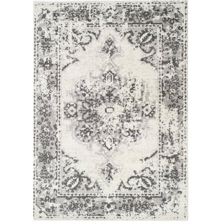 KALORA INTERIORS:8' x 11' Focus Area Rug - White with Grey Design