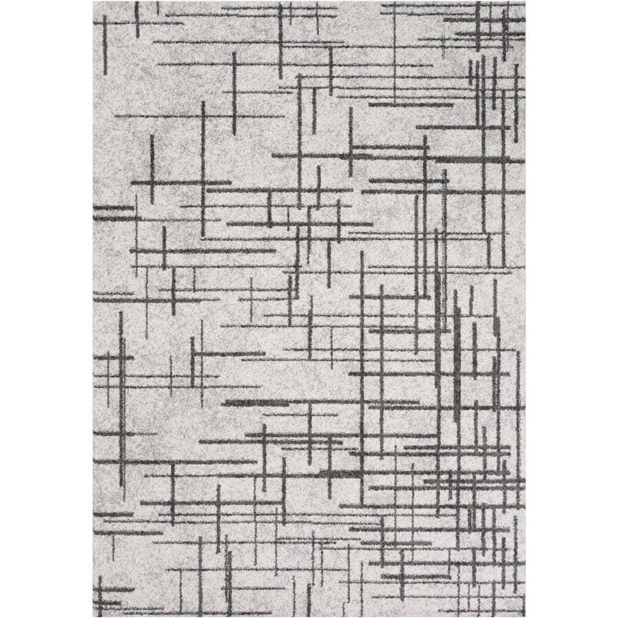 KALORA INTERIORS:8' x 11' Focus Area Rug - Grey with Dark Grey Lines