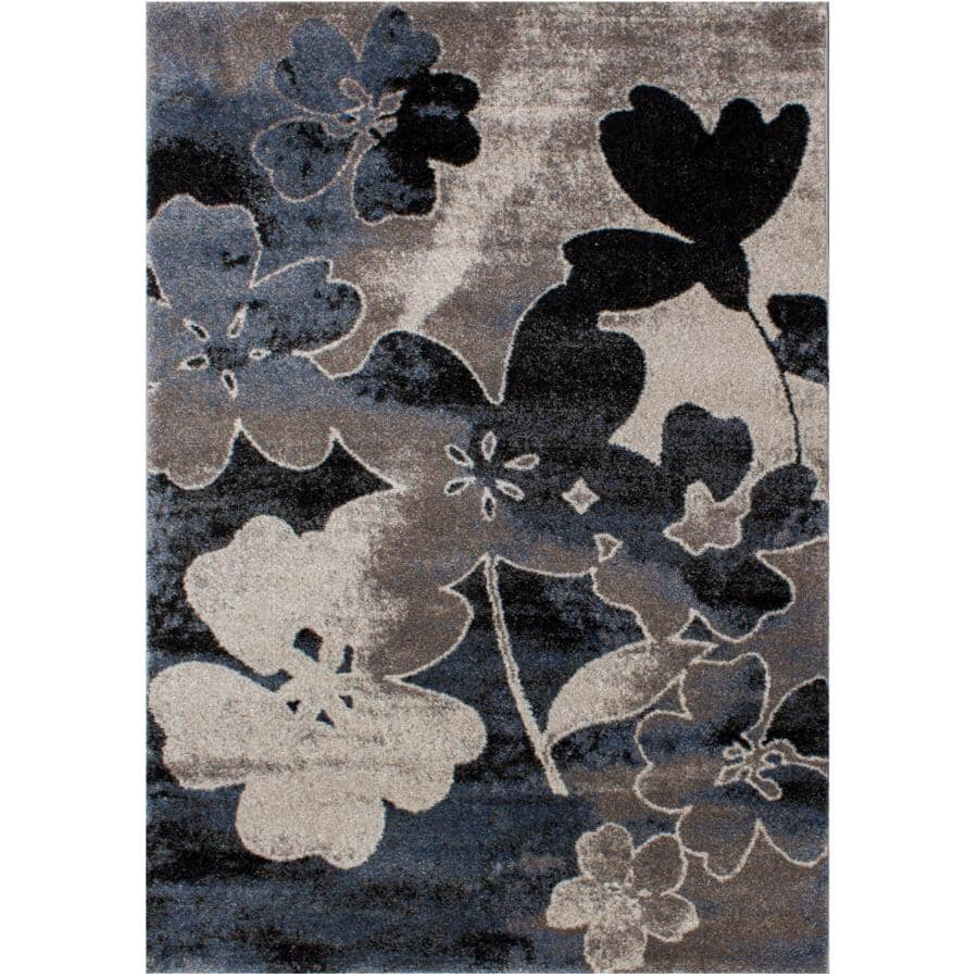 KALORA INTERIORS:8' x 11' Breeze Area Rug - Blue, Cream & Black Design