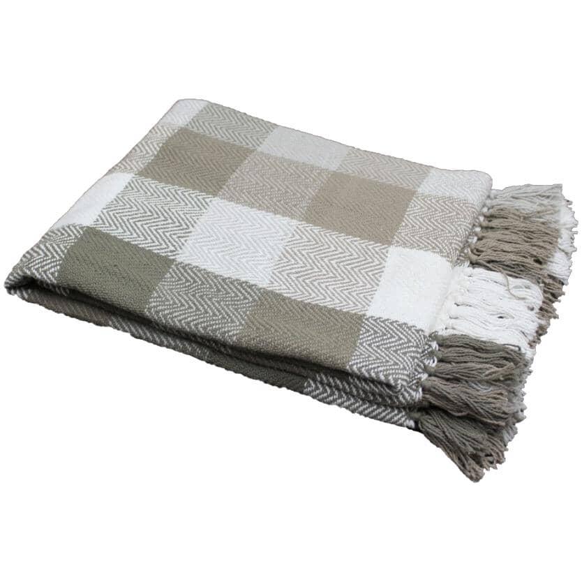 "FAB STYLES:Accent Throw Blanket - Stone Herringbone Check, 50"" x 60"""