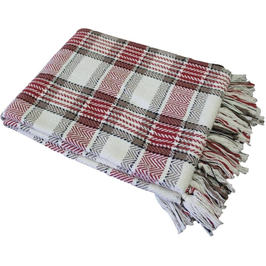 """FAB STYLES:Accent Throw Blanket - Highland Red Herringbone Check, 50"""" x 60"""""""