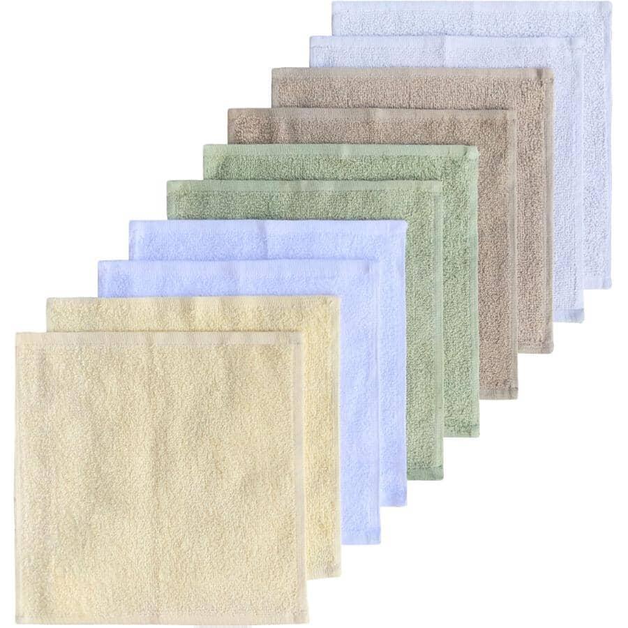 BASIX:Paquet de 10 débarbouillettes en coton, couleurs variées