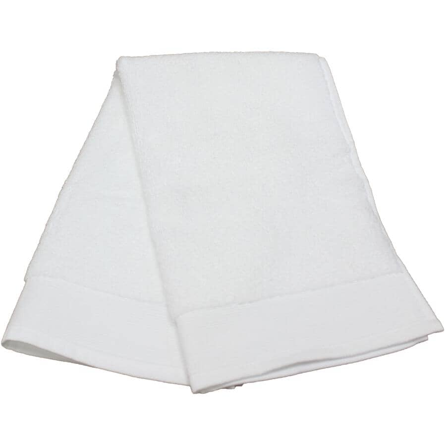 """FAB STYLES:Camelot Cotton Hand Towel - White, 16"""" x 28"""""""