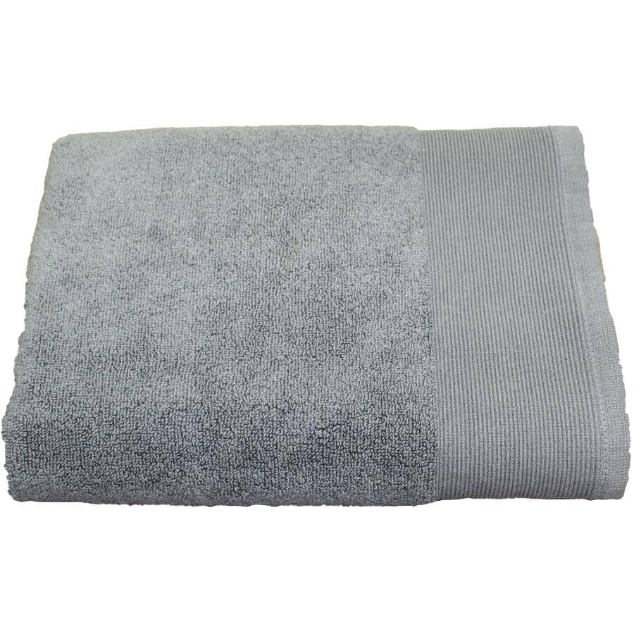 "FAB STYLES:Camelot Cotton Bath Towel - Grey, 27"" x 52"""