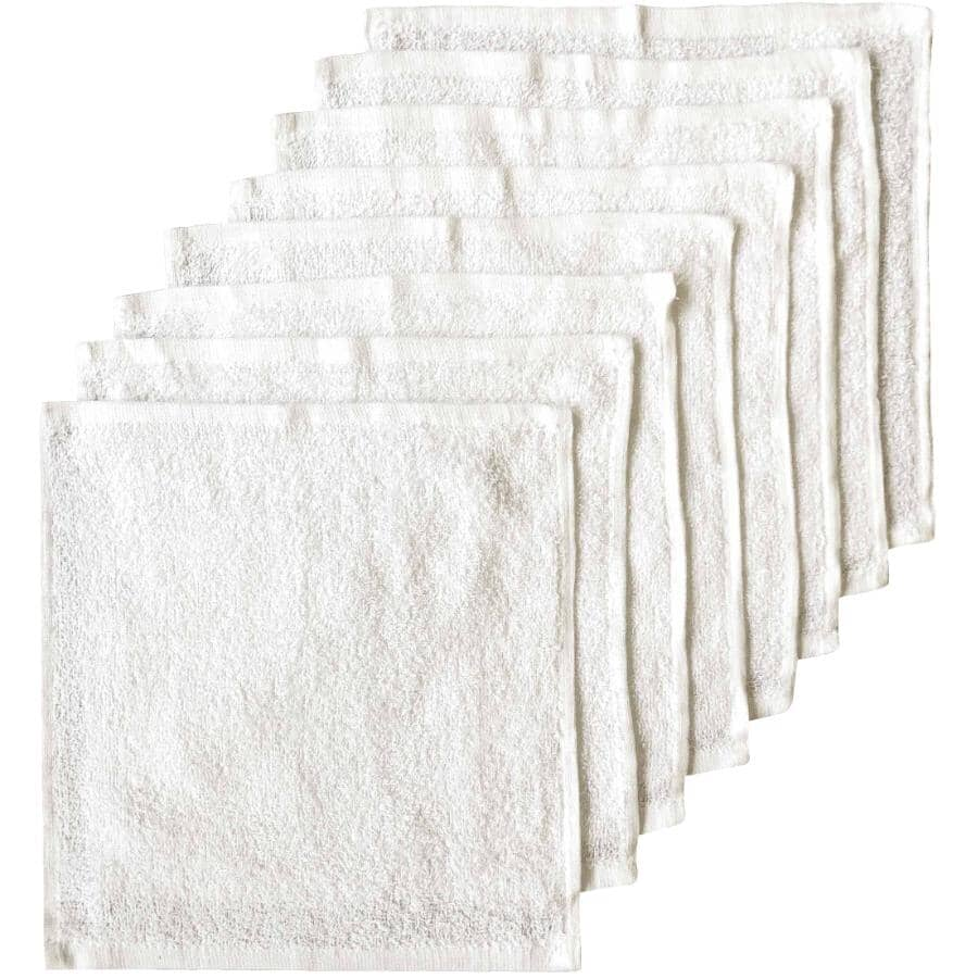 """BASIX:Cotton Face Cloths - White, 12"""" x 12"""", 8 Pack"""