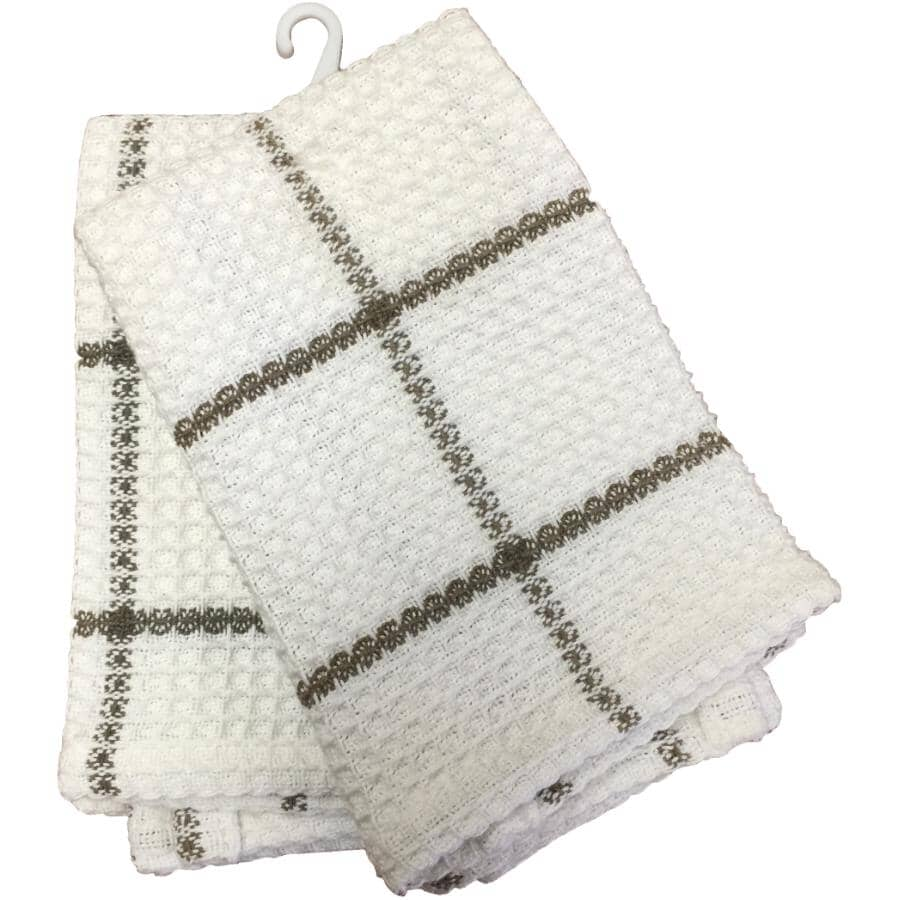 FAB STYLES:Waffle Dish Cloths - Brown & White, 2 Pack