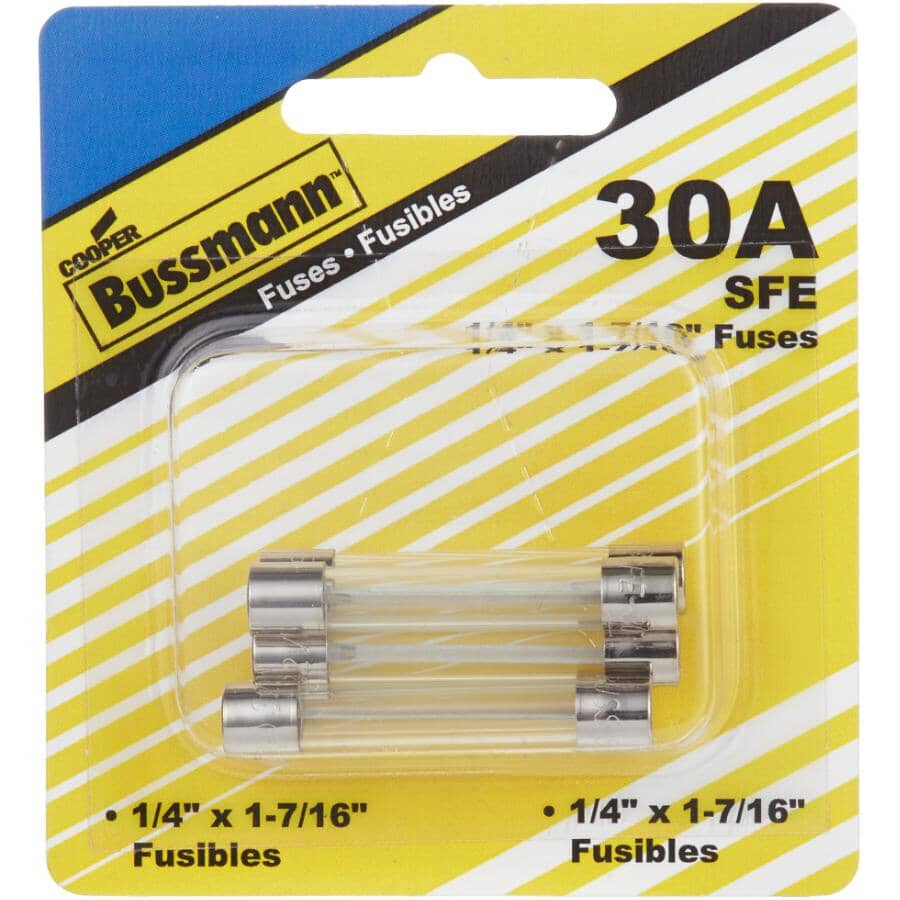 BUSSMANN:Fast Acting SFE 30 Amp Glass Fuses - 5 Pack