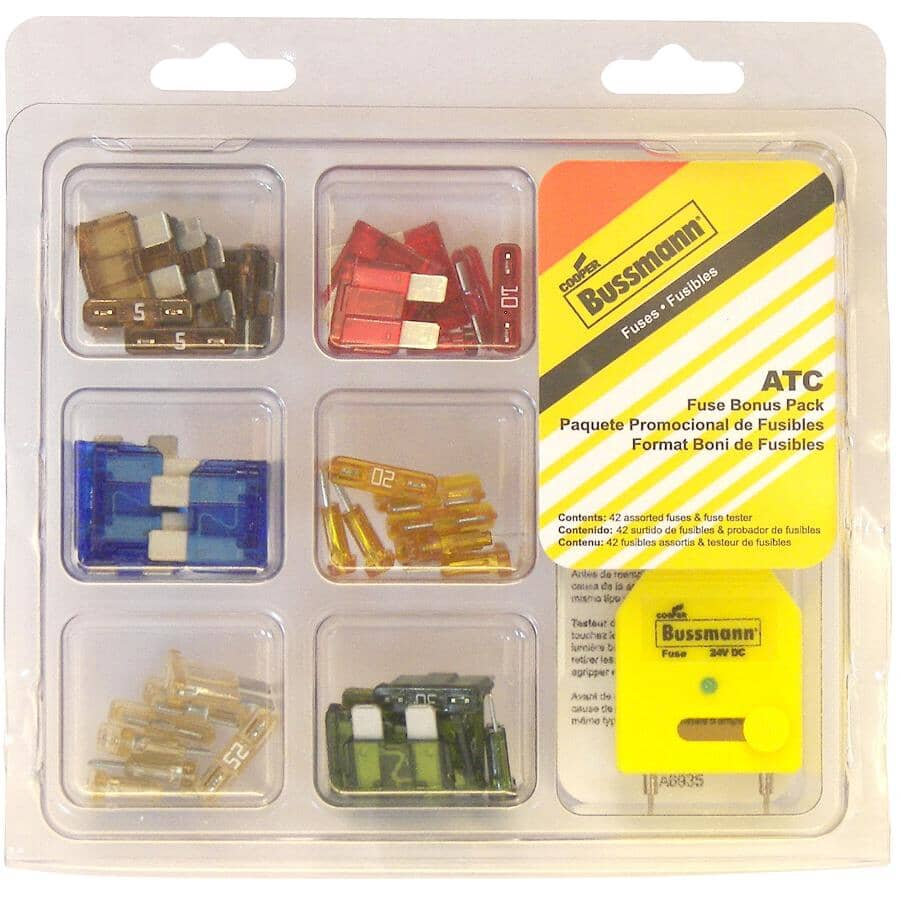 BUSSMANN:43 Piece Assorted ATC Fuse Kit - with Puller/Tester