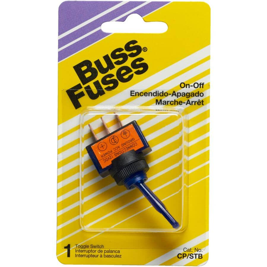 BUSSMANN:20 Amp Heavy Duty Blue LED On/Off Toggle Switch