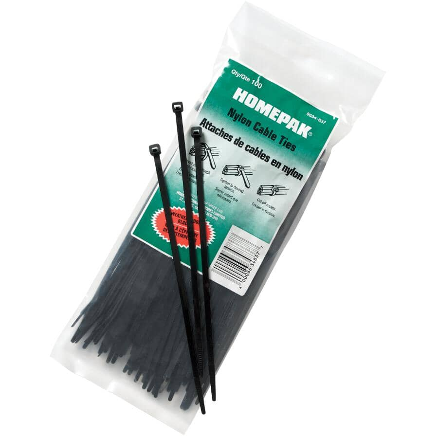 """HOME PAK:100 Pack 7-7/8"""" Cable Ties with UV Protection"""