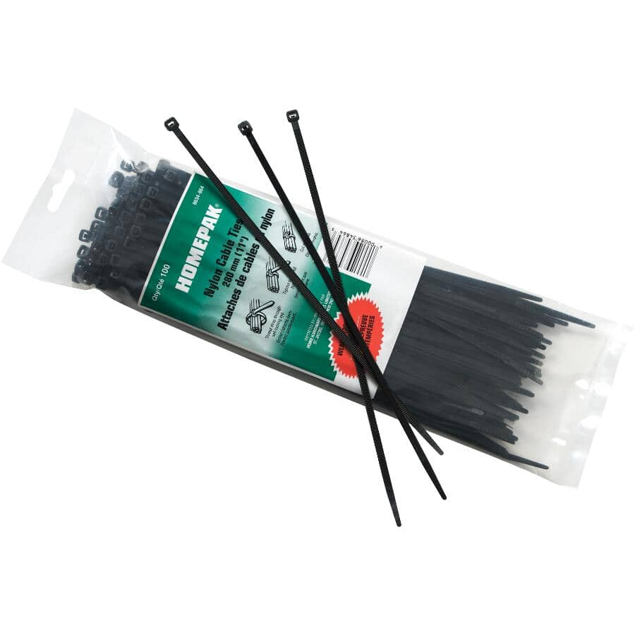 """HOME PAK:100 Pack 11"""" Cable Ties with UV Protection"""