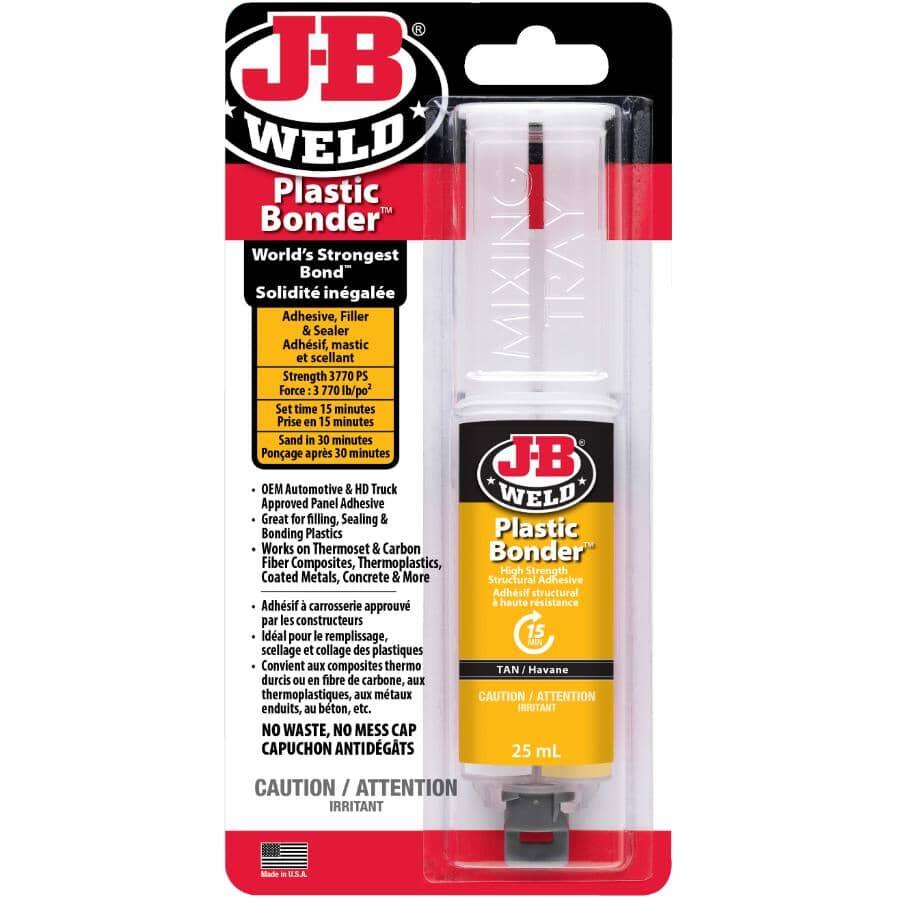 J-B WELD:High Strength Plastic Bonder Adhesive Syringe - Tan, 25 ml