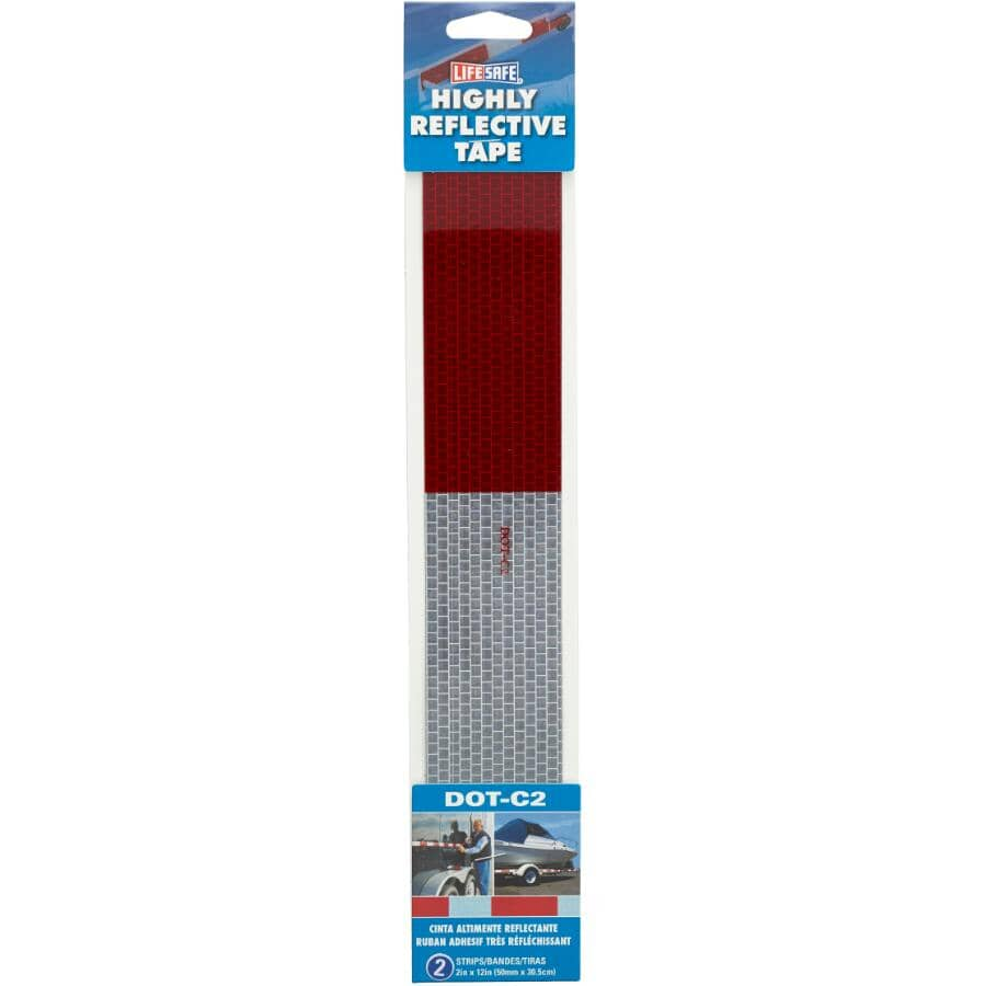 """LIFESAFE:Red & Silver Reflective Tape - 2"""" x 12"""", 2 Pack"""