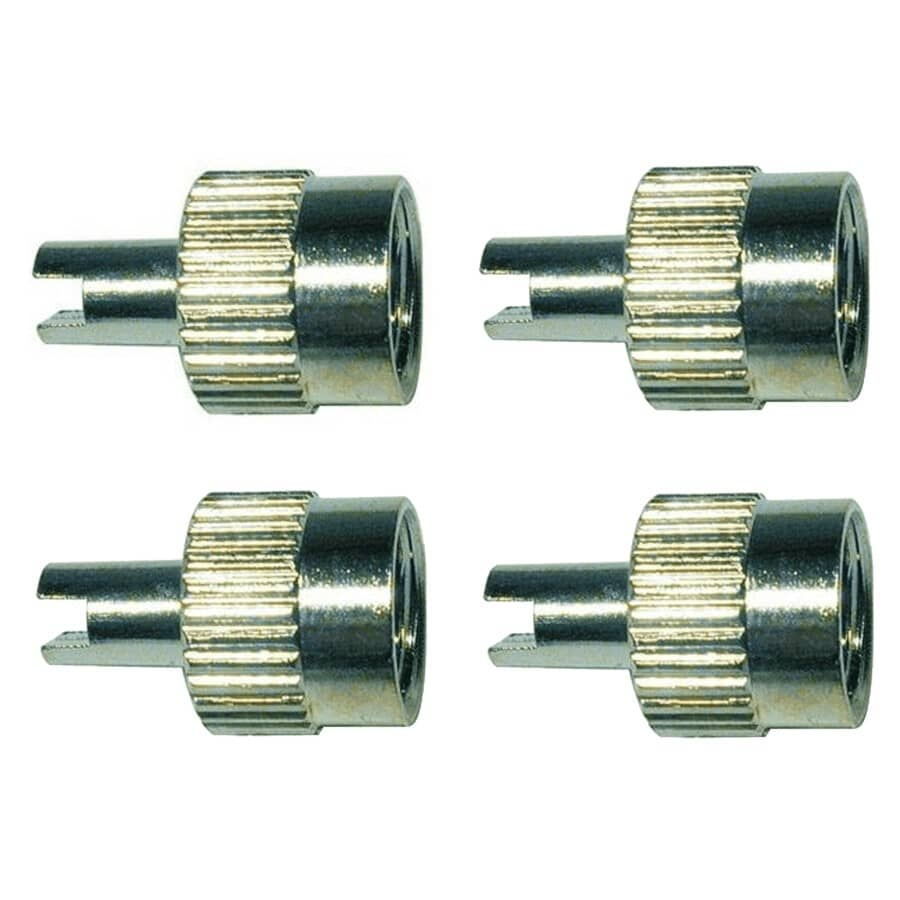 TRU-FLATE:Tire Valve Caps - Nickle Plated, 4 Pack