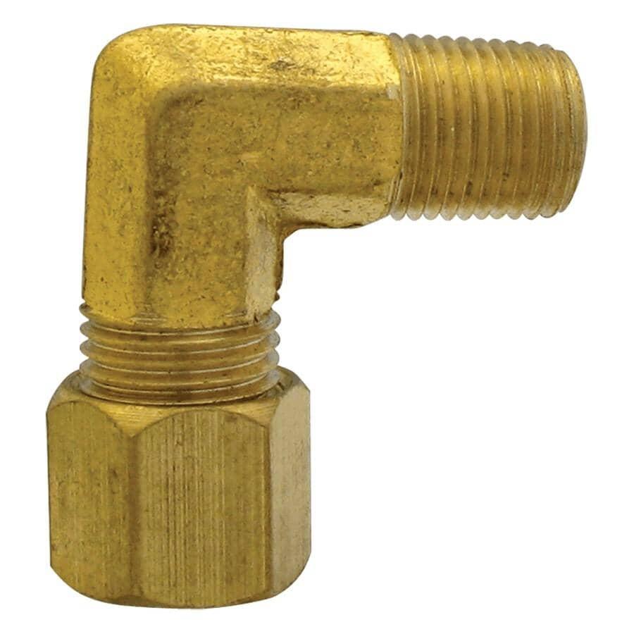 """DOMINION:3/8"""" Compression x 1/4"""" Male Pipe Thread Brass 90 Degree Elbow"""