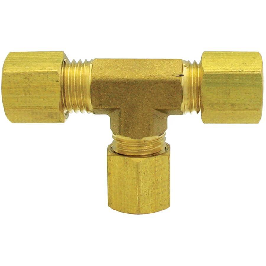 """DOMINION:3/8"""" Brass 3 Tube Union Compression Tee"""