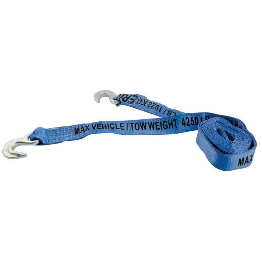"""ERICKSON MANUFACTURING:8500 lb Tow Strap - with Hooks, 2"""" x 15'"""