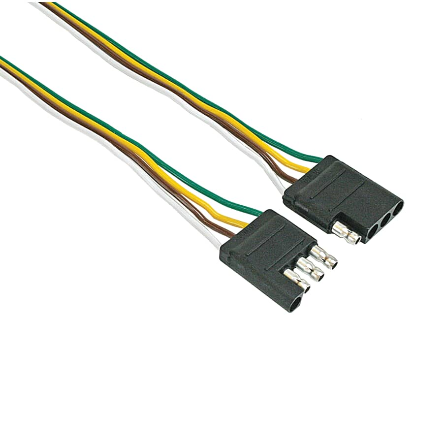 """REESE TOWPOWER:4-Way Flat Wiring Connector Loop - Vehicle + Trailer Ends, 60"""""""